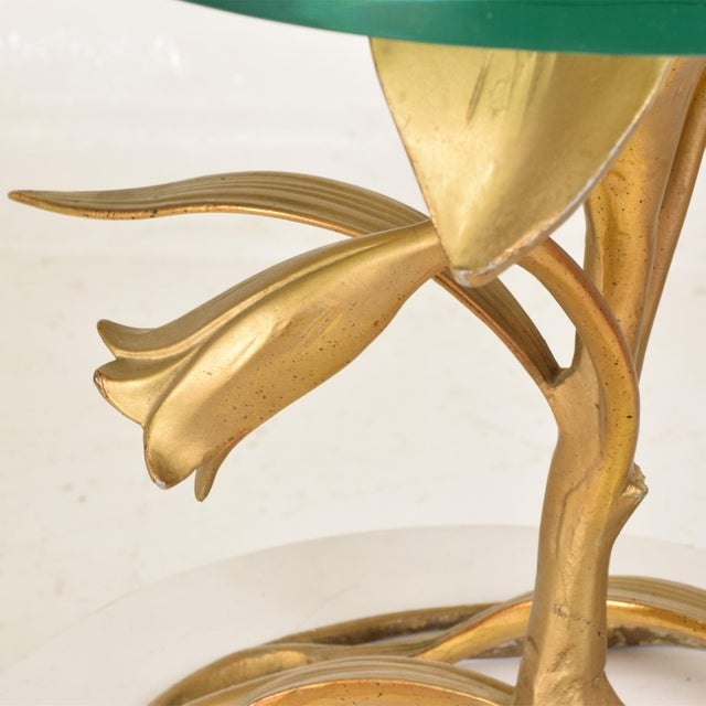 1970s Hollywood Regency Side Aluminum Table by Arthur Court, Gilded Lily For Sale - Image 5 of 10