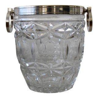 French Silver Plated & Cut Glass Champagne Ice Bucket Hoop Handles For Sale