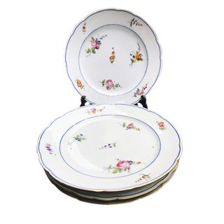 Antique French Sevres Style Porcelain Plates (S/4) For Sale