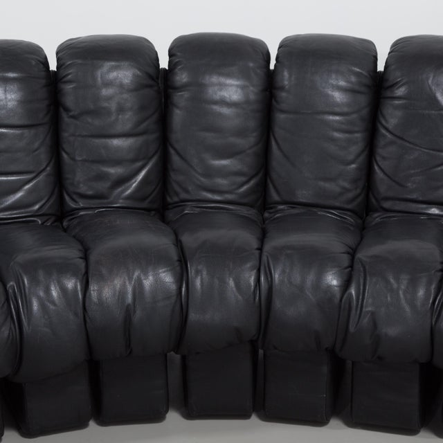 Black A 28 Piece Black Leather De Sede DS 600 Sectional Leather Sofa 1987 For Sale - Image 8 of 10