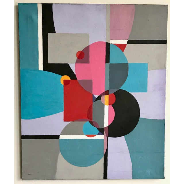 1970s Vintage Acrylic Geometric Painting For Sale In Los Angeles - Image 6 of 6