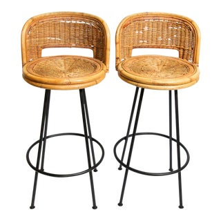 Vintage 1960s Swivel Woven Rattan Bar Stools - a Pair For Sale