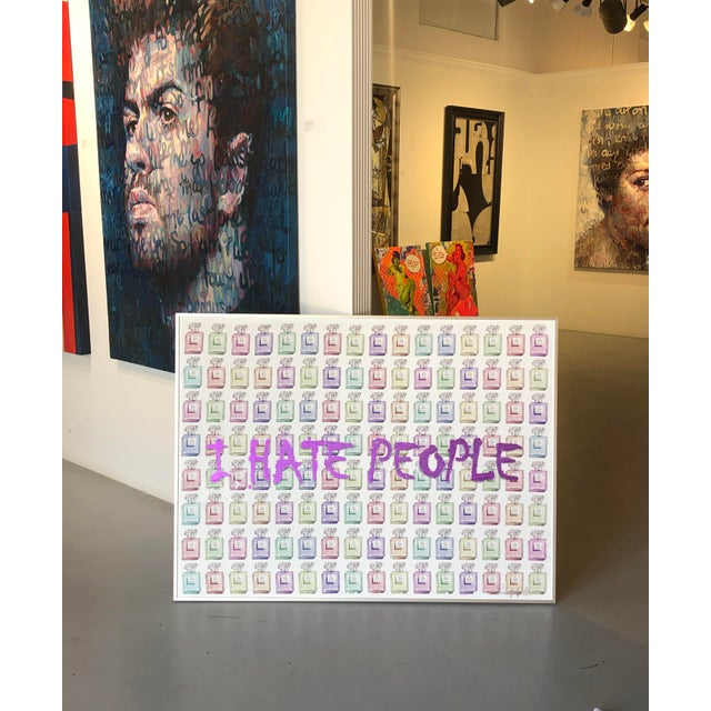 """Minimalism """"I Hate People"""" Framed Mixed Media Painting by Italian Pop Artist For Sale - Image 3 of 12"""