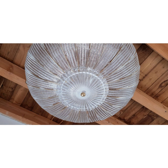 A.V. Mazzega Large Mid-Century Modern Round Clear Murano Glass Flush Mount For Sale - Image 4 of 12