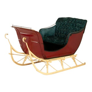 Authentic Vintage Red Painted Sleigh For Sale