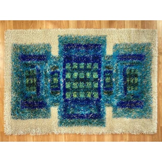 Scandinavian Modern-Style Blue & Green Geometric Design Wool Rya Rug, 1960s Preview