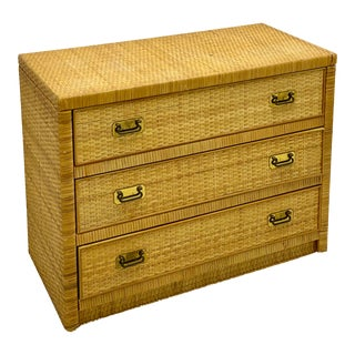 Bilecky Brothers Style Wicker Wrapped Chest For Sale