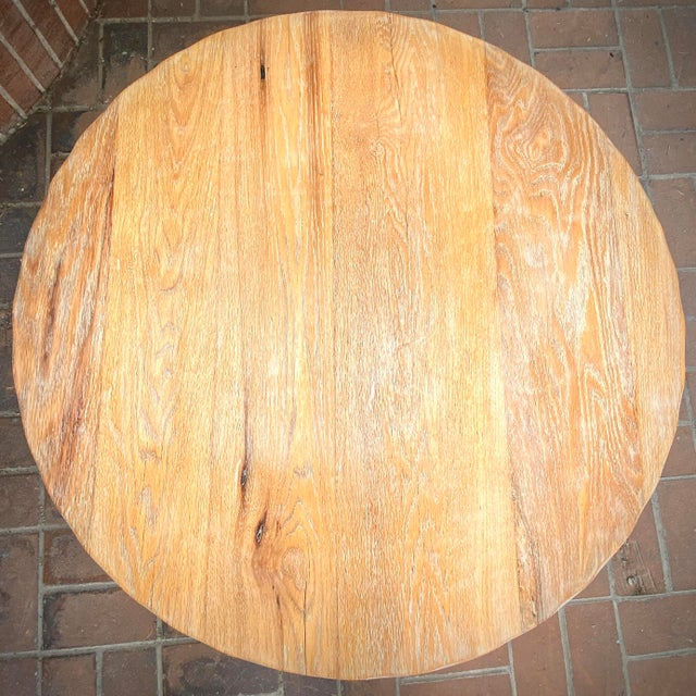 1970s Cleo Baldon Wrought Iron and Whitewashed Oak Coffee Table For Sale - Image 5 of 12
