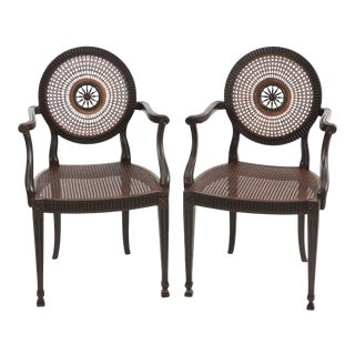 Italian Carved Wood and Caned Armchairs - a Pair For Sale