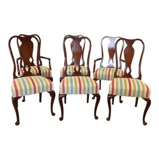 1980s Cherry Queen Anne Dining Room Chairs - Set of 6