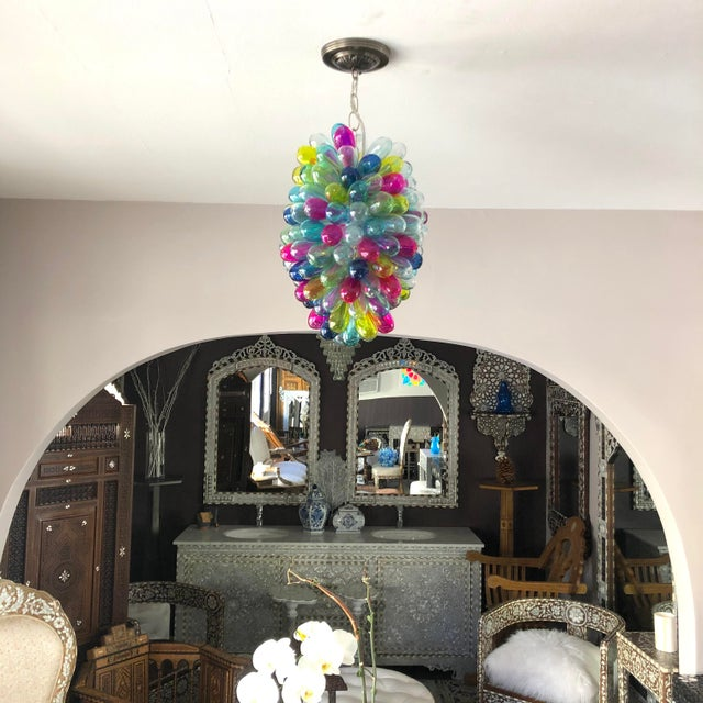 2020s Recycled Hand Blown Glass Gemstones Color Chandelier For Sale - Image 5 of 12
