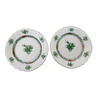 Pair of Herend Green Chinese Bouquet Plates