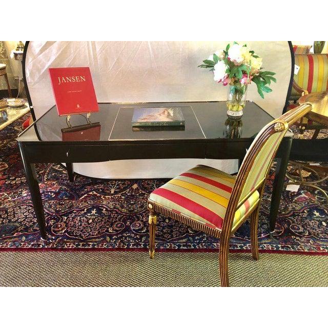 Hollywood Regency Ralph Lauren Style Ebonized Chrome Mounted Desk Vanity For