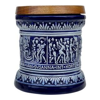 Vintage German Marzi & Remy Stoneware Majolica Humidor Walnut Tobacco Jar For Sale