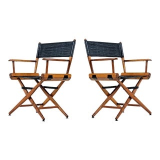 Telescope Director Chair Set – Restored With Black Alligator Leather For Sale