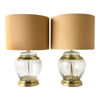 Pair of Handblown Clear Glass Table Lamps 1960s For Sale