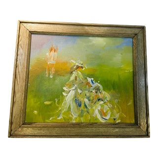Mid-Century Figures in a Field Painting Oil on Canvas Painting For Sale