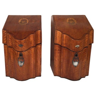 Early 20th Century Antique English Inlaid Satinwood Cutlery Boxes - A Pair For Sale