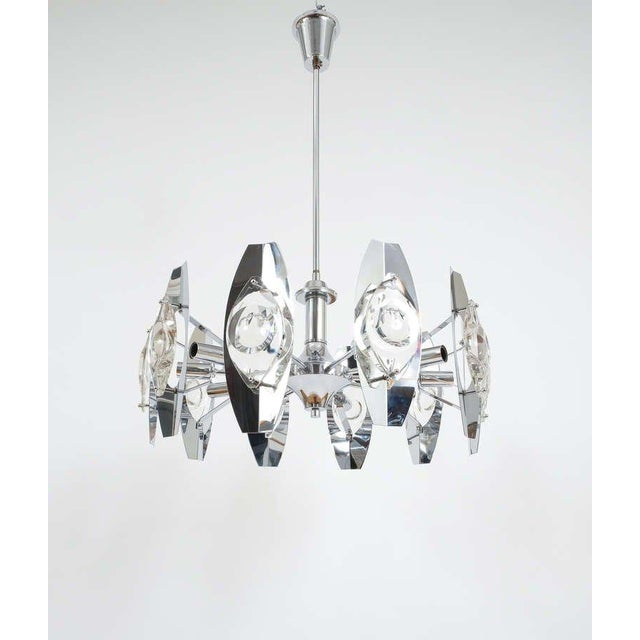 Gaetano Sciolari Impressive Chrome Glass Lens Chandelier lamp , Italy 1960. Stunning 25.6 inch Chandelier by Gaetano...