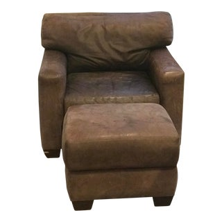 Rustic Distressed Leather Oversized Chair and Ottoman For Sale