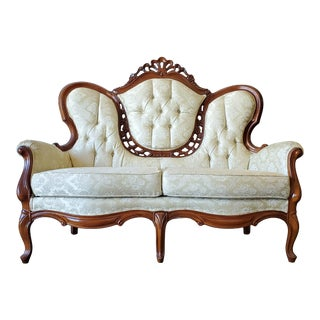 Vintage Victorian Carved Wood Ivory Brocade Tufted Loveseat For Sale