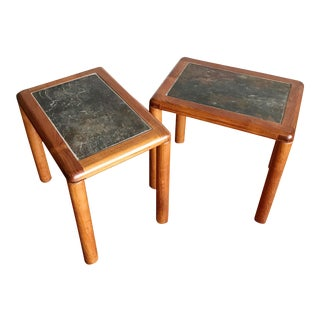 1980s Danish Teak and Stone End Tables by Haslev - a Pair For Sale
