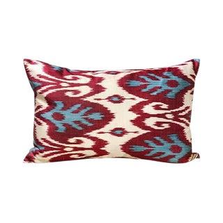 Kim Salmela Modern Turkish Silk Ikat Lumbar Pillow For Sale