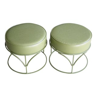 Olive Green Gallo Ironworks Ottomans, a Pair For Sale