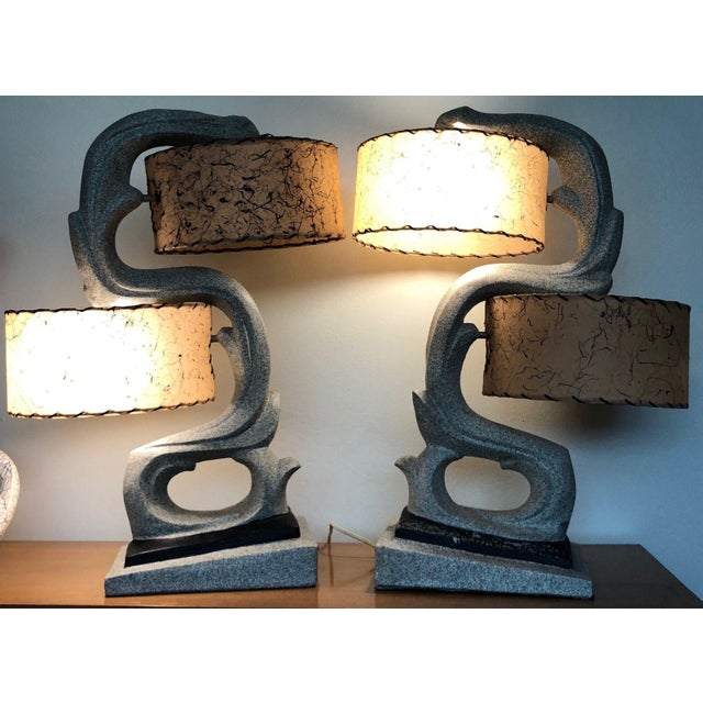 Tan Fabulous 1950s Chalkware Table Lamp Set With Fiberglass Shades Mid Century Modern Atomic Era Retro For Sale - Image 8 of 13