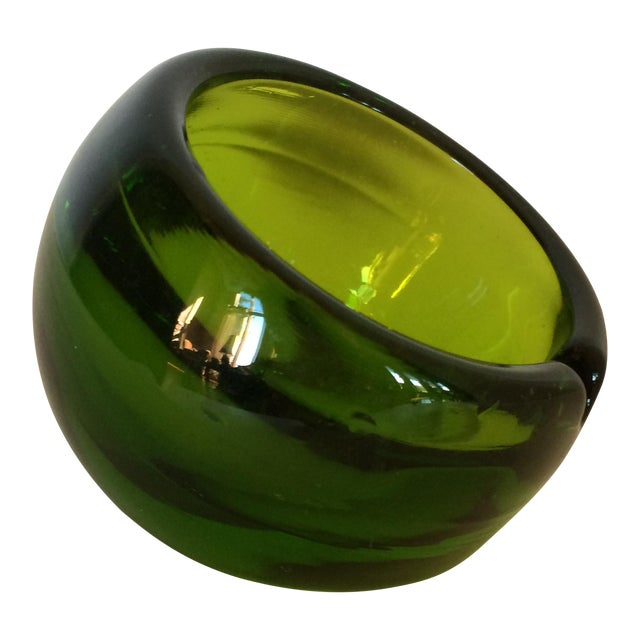 Viking Glass Tilted Orb Ashtrays - A Pair - Image 1 of 6