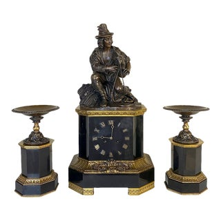 Mid-19th Century Bronze & Slate Mantel Clock Set by Feuchere For Sale