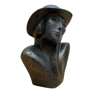 Vintage Sculptural Bust of a Woman in a Hat For Sale