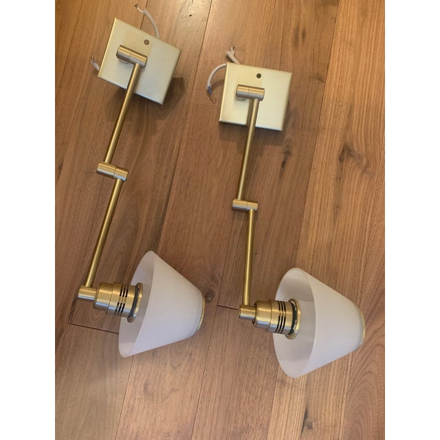 """Excellent condition! Vintage. 1) Solid brass, outlet box mounted. 3-½"""" x 6"""" x ⅞"""" deep canopy 2) Arm swivels at canopy. 3)..."""
