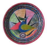 Image of Vintage Mexican Redware Folk Art Abstract Bird Hanging Plate For Sale