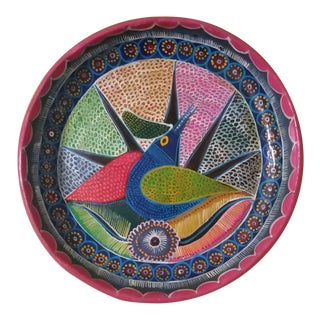 Vintage Mexican Redware Folk Art Abstract Bird Hanging Plate For Sale