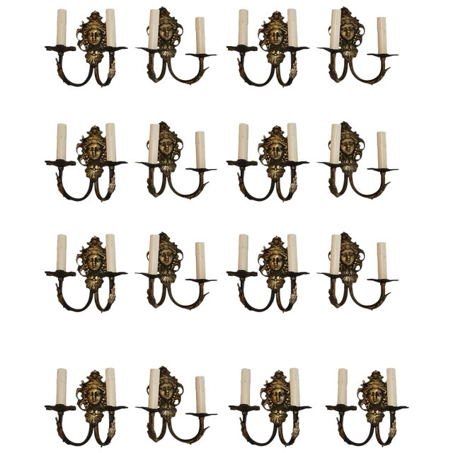 French 1940s Brass Sconces '14 Double, Two Single' - Set of 16 For Sale