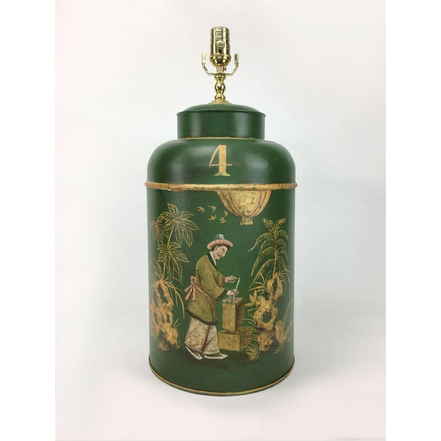 English Export Tea Caddy #4 Lamp Green Background With Gold Painted Accents For Sale In New York - Image 6 of 6