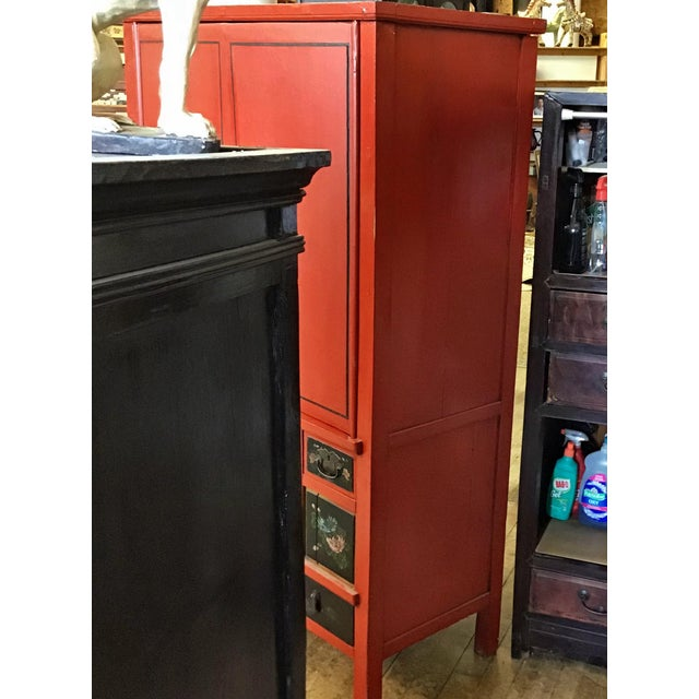 Black Antique Chinese Red and Black Tall Armoire For Sale - Image 8 of 13