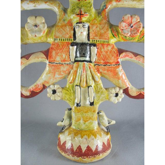 Burnt Orange Vintage Aurelio Flores Mexican Folk Art Tree of Life Sculpture For Sale - Image 8 of 13