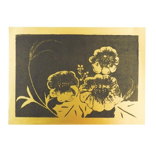Metallic Gold & Black Floral Serigraph For Sale