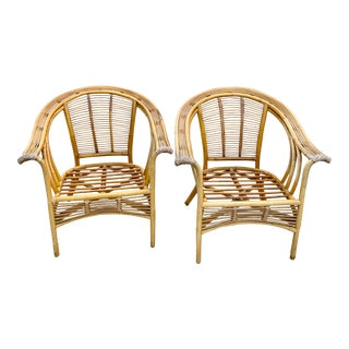 Boho Vintage Bamboo Club Chairs-A Pair For Sale