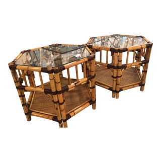Vintage Burnt Rattan Bamboo End Side Tables - A Pair For Sale