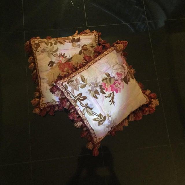 Aubusson Floral Decorative Pillows - A Pair - Image 2 of 5