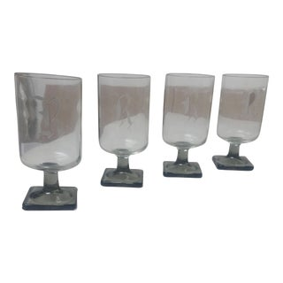 """Clear """"R"""" MonogramGoblets - Set of 4 For Sale"""
