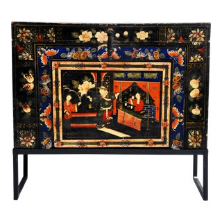 Late-Qing Dynasty Storage Chest With Painting and Metal Base For Sale