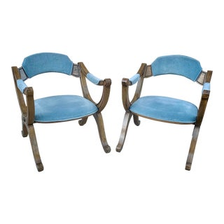 Mid-Century Light Blue Velvet Lounge Chairs by Drexel Heritage - a Pair For Sale