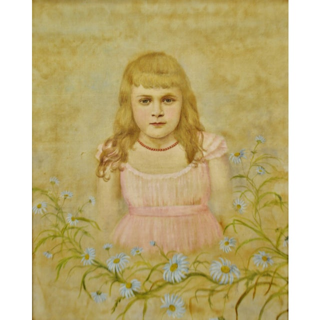 Victorian Antique Framed Victorian Style Painting on Canvas of Young Girl - Artist Signed For Sale - Image 3 of 13