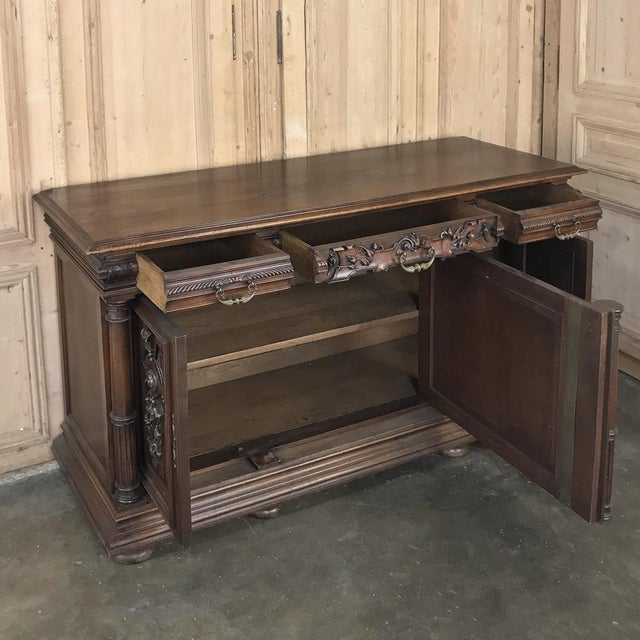 19th Century French Walnut Henri II Buffet For Sale In Dallas - Image 6 of 13