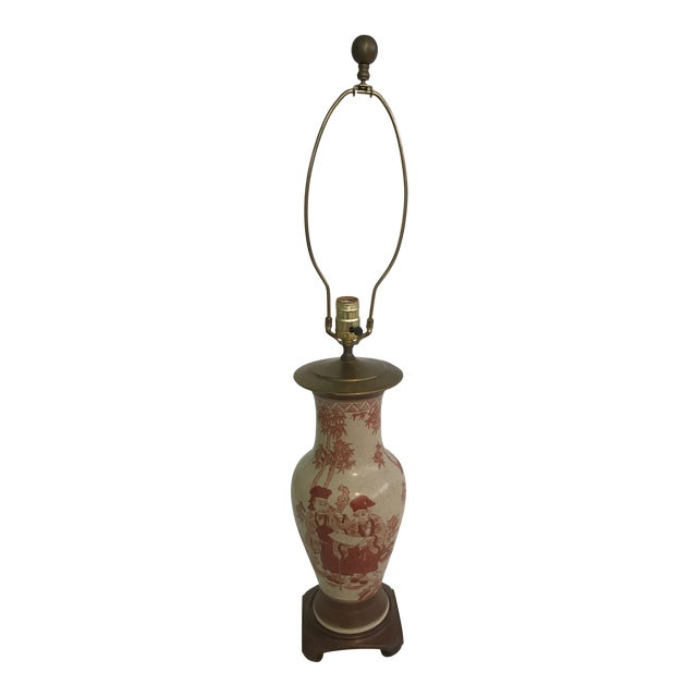 Asian Chinoiserie Hand Painted Ginger Jar Lamp For Sale