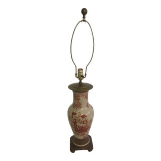 Vintage Asian Chinoiserie Hand Painted Ginger Jar Lamp For Sale